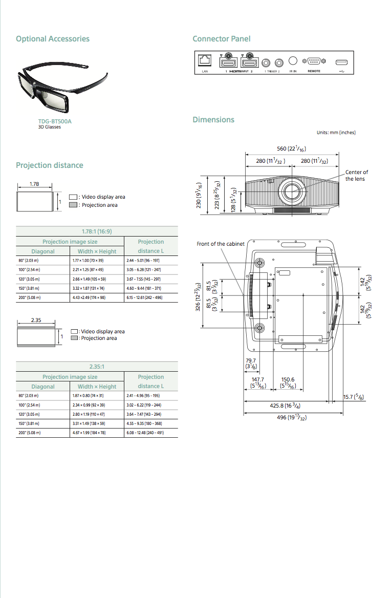 Dimensions et ratios des videoprojecteurs Sony VPL-VW260ES à Lyon