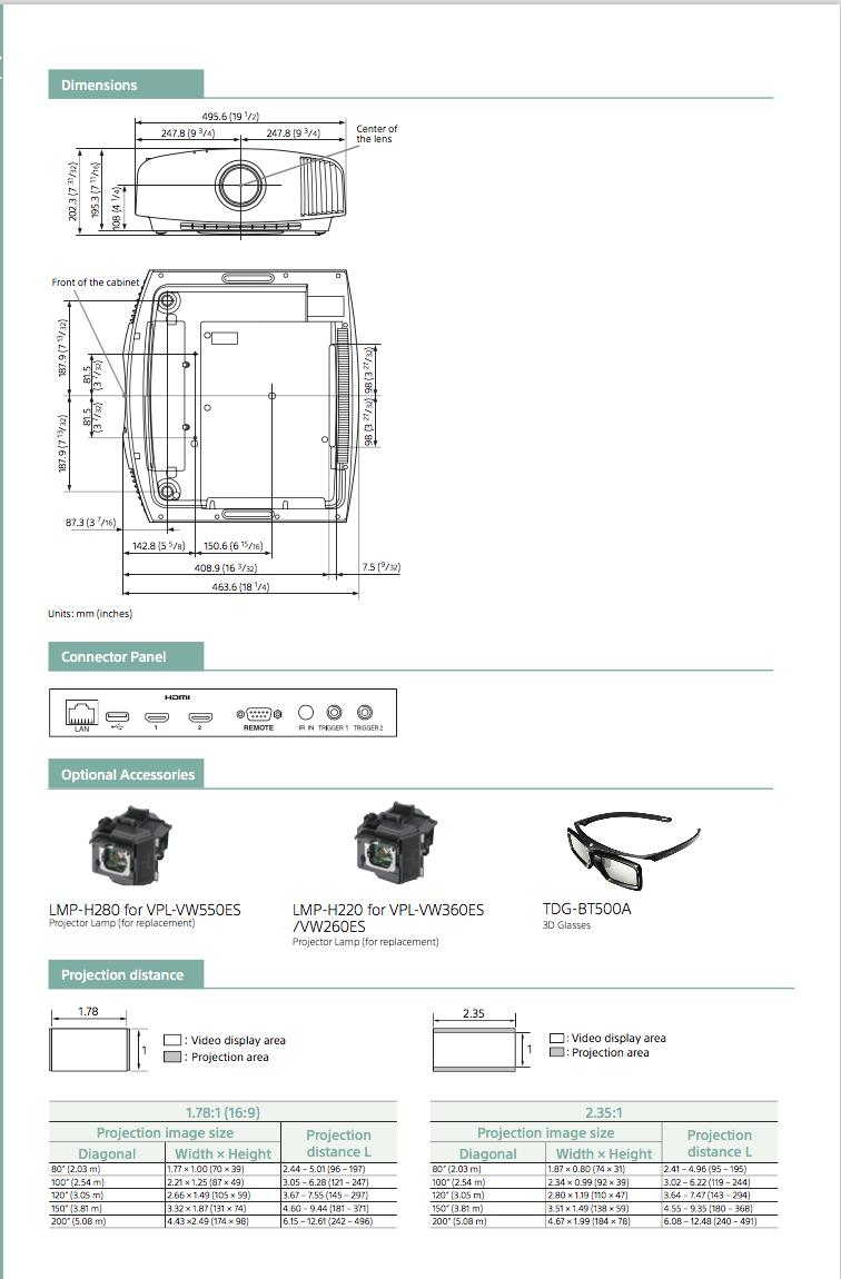 dimensions et accessoires du videoprojecteur SONY VPL-VW260ES à Lyon